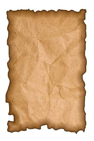 Burned paper on white background