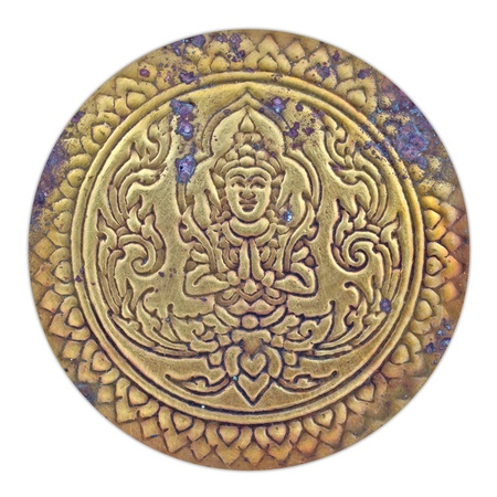 oxidated: Thai pattern on old brass plate Stock Photo