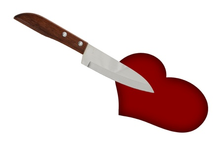stabbed: kitchen knife stab to the heartbreak Stock Photo