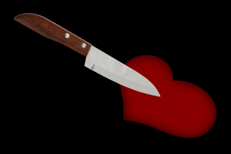 stabbed: kitchen knife stab to the heart