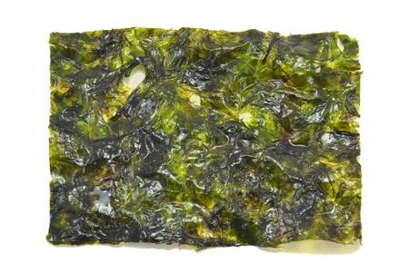 fried seaweed on white background