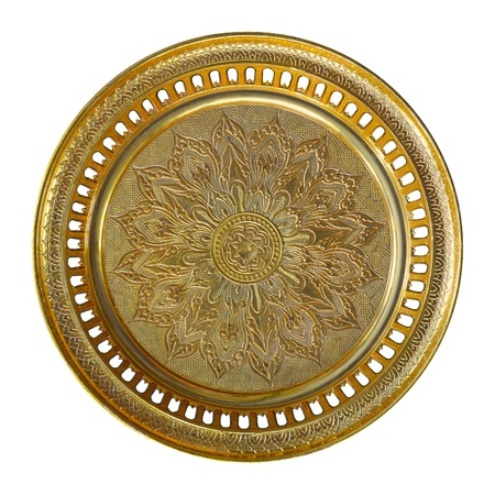 Gold tray with pedestal for put something