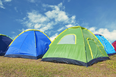 camping on the mountain with blue sky Stock Photo
