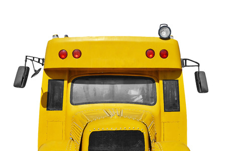 yellow schoolbus: close up of school bus, isolated