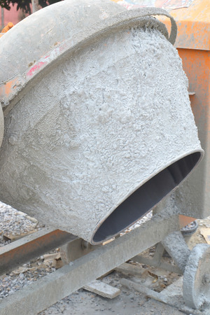 close up of cement or concrete mixer