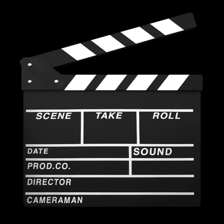 Clapperboard isolated on Black Background
