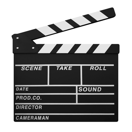 Clapperboard isolated on White Background Stock Photo