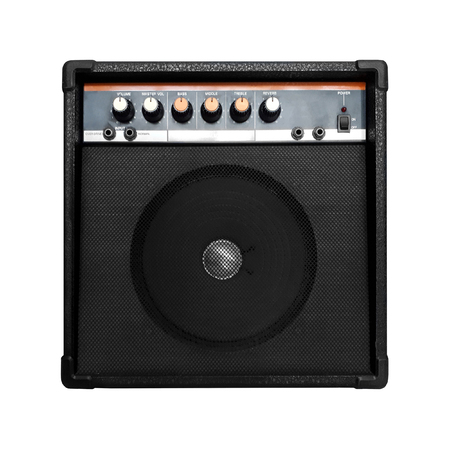 vintage guitar amplifier isolated on white background