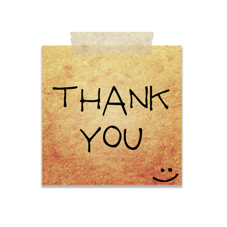 thank you written on piece of paper, isolated