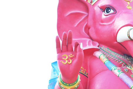 pink ganesha statue isolated on white, lord of success