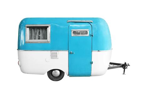 vintage caravan or camper trailer isolated on white background