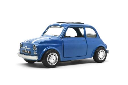 blauwe retro auto speelgoed model geïsoleerd op een witte achtergrond Stockfoto