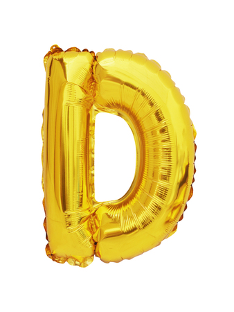 letter D balloon font isolated on white background