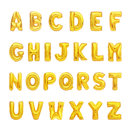 set of gold capital A-Z alphabet balloon isolated on white background