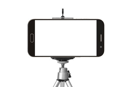 black smart phone with tripod isolated on white background 免版税图像