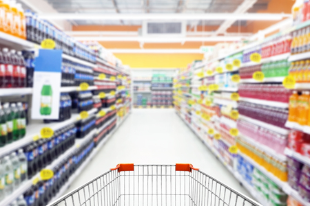 photo of shopping cart in supermarket 写真素材