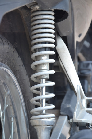 close up of shock absorber motorcycle Stock Photo