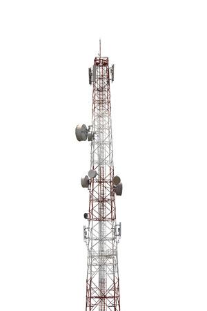 telecommunications tower on white background Stock Photo