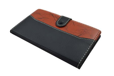 leather notebook on white background