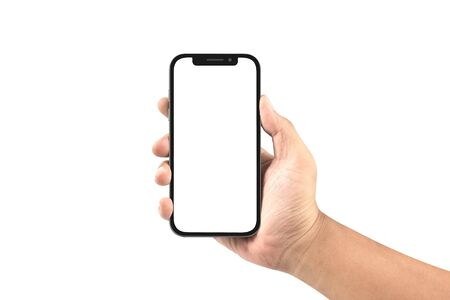 hand holding black smartphone with blank screen isolated on white background