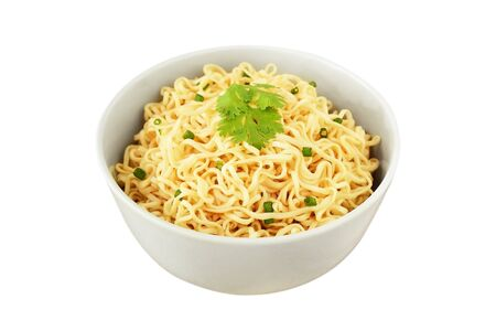 instant noodles in the bowl isolated on white background