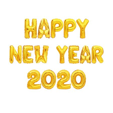 happy new year 2020 number of gold foiled balloons isolated on white background