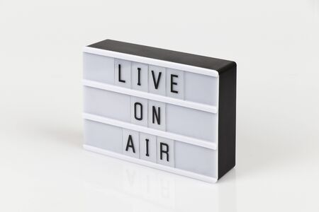 live on air sign on white background Banco de Imagens