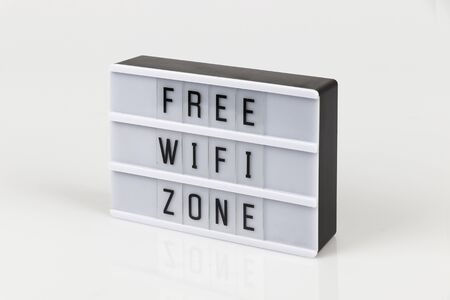 free wifi zone sign on white background
