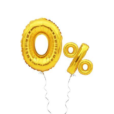 golden zero percent balloon isolated on white background