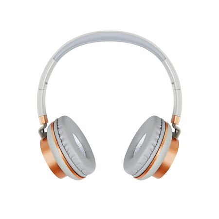 grey headphones isolated on white background Banque d'images