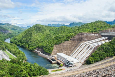 Power station at Srinagarind Dam on the Kwai Yai river in Kanchanaburi Province, Thailand.