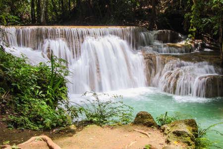 Huay Mae Kamin or Huai Mae Khamin Waterfall at Khuean Srinagarindra National Park or Srinagarind Dam National Park in Kanchanaburi Province, Thailand. Stock Photo