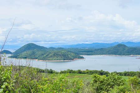 Srinagarind Dam at view point in Si Sawat District, Kanchanaburi Province, Thailand.
