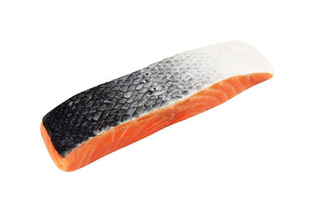 salmon piece isolated on white background