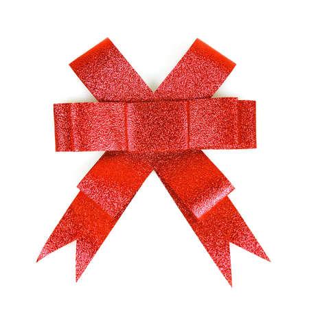 Red shiny bow isolated on white background Stock Photo