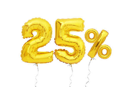 golden twenty five 25 percent balloon isolated on white background