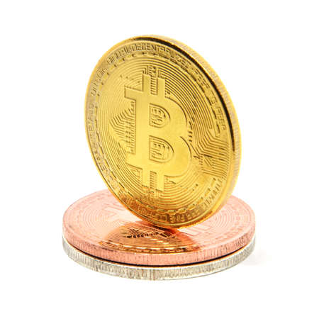Golden bitcoin isolated on white background Stock Photo