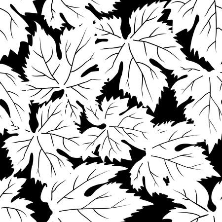 Grape leafs seamless pattern Vector