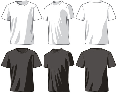 T-shirts front, half-turned and back.