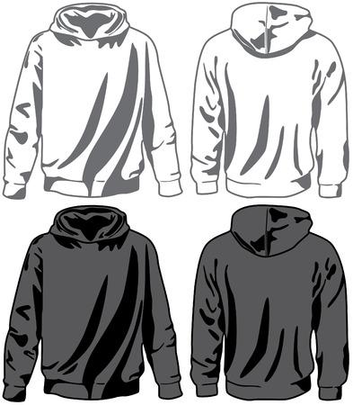 hosiery: Unisex hoodies. Vector