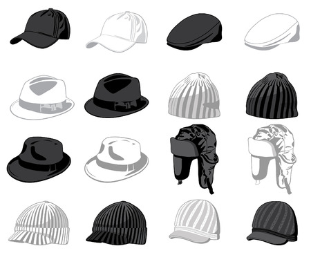 gorro: Conjunto de los sombreros. Ilustraci�n vectorial