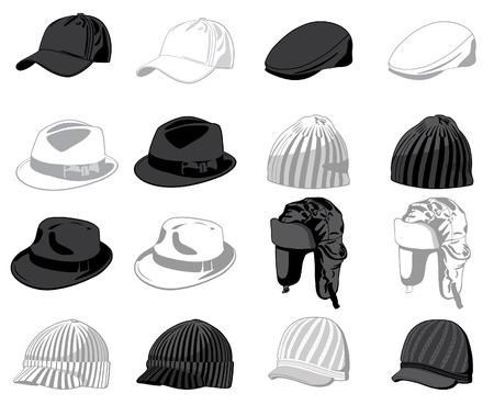 berretto: Set dei cappelli. Illustrazione vettoriale  Vettoriali