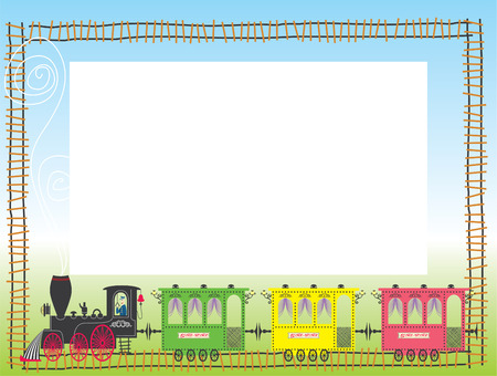 Child framework with train. Vector illustration