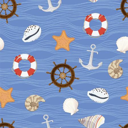 cockleshells: Marine seamless pattern. Vector Illustration