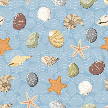 cockleshell: Marine seamless pattern. Vector Illustration