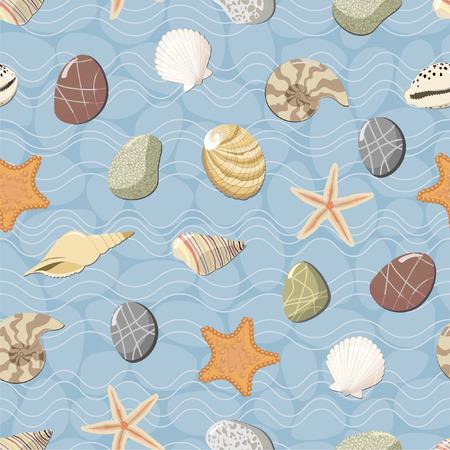 seashell: Marine seamless pattern. Vector Illustration