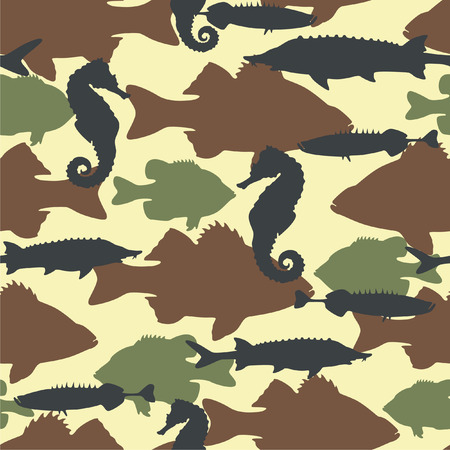 infantile: Fish camouflage seamless pattern