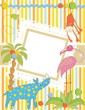 flamenco ave: Marco de beb� o tarjeta. Vector  Vectores