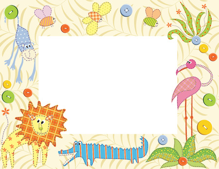 Frame or card with animals Vector
