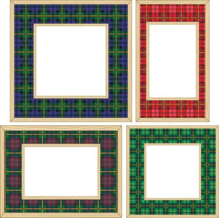 Conjunto de los marcos de madera con patrones de tartán